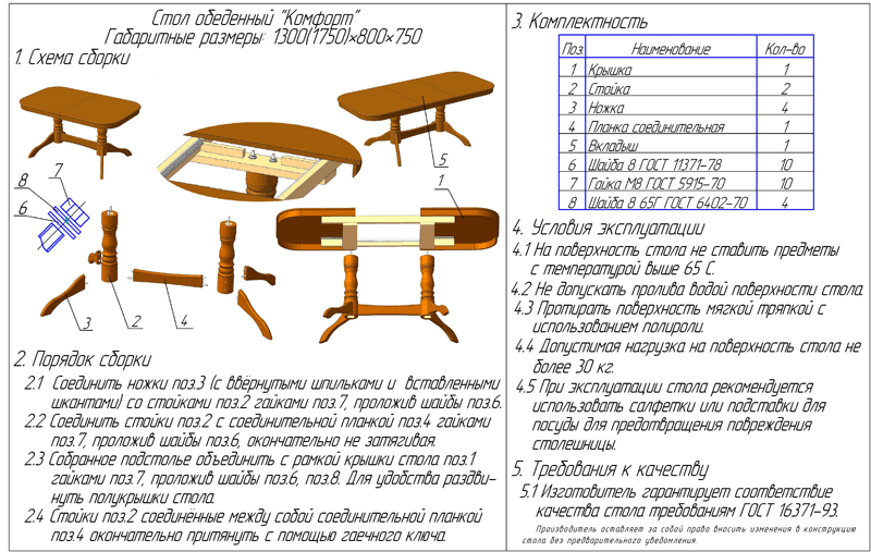 Как сделать раздвижной стол чертеж